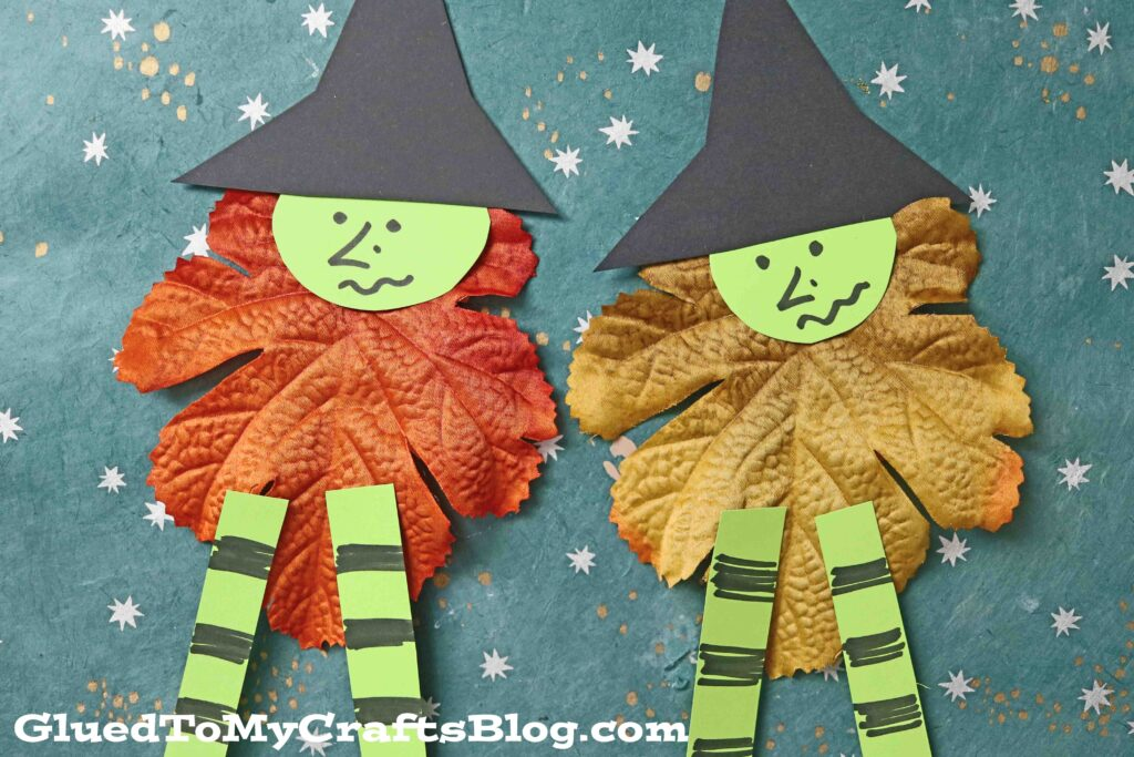 Crafty Leaf Witches Made With Paper - Halloween Kid Craft Idea