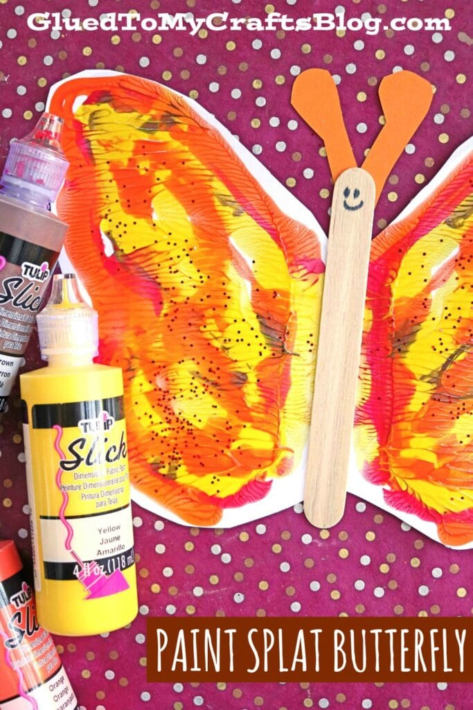 Paint Splat Butterflies On Paper - Kid Craft Tutorial