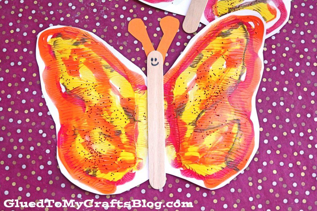 Autumn Paint Splat Butterflies - Kid Craft w/free template
