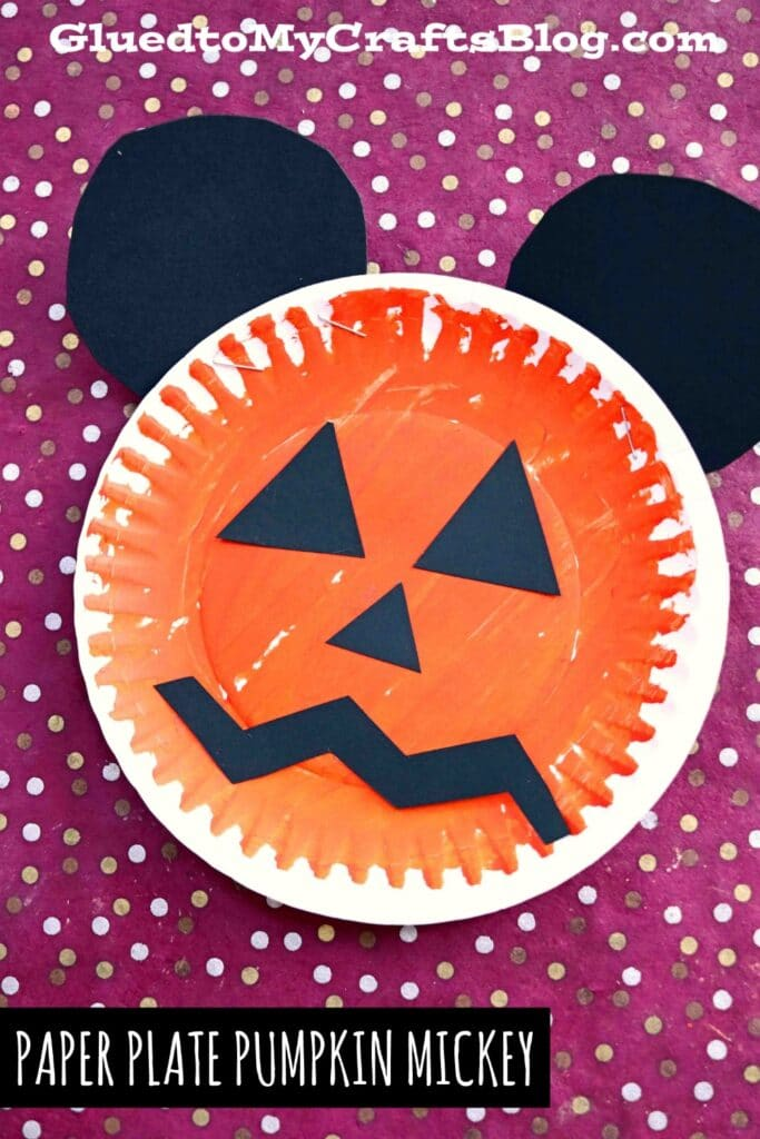 Paper Plate Mickey Inspired Jack-O-Lantern - Kid Craft