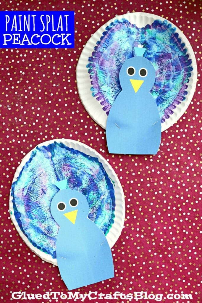 Paper Plate & Paint Splat Peacock - Kid Craft Idea