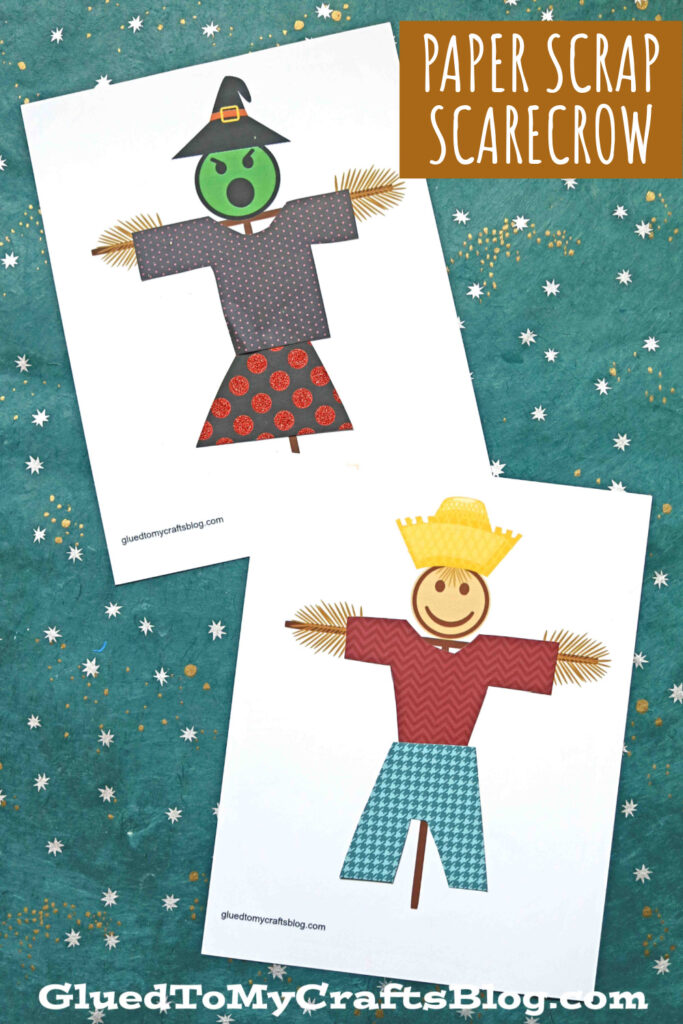 Paper Scrap Scarecrow Craft For Kids - Free Printables Included!