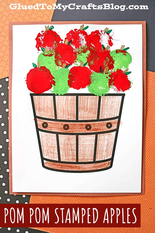 Pom Pom Stamped Apples On Paper - Kid Craft Idea