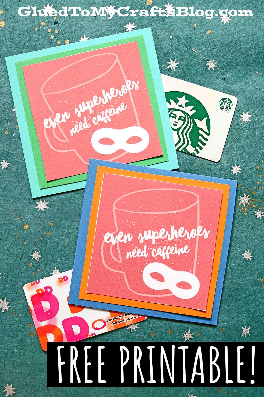 Even Superheroes Need Caffeine Gift Tag Printable