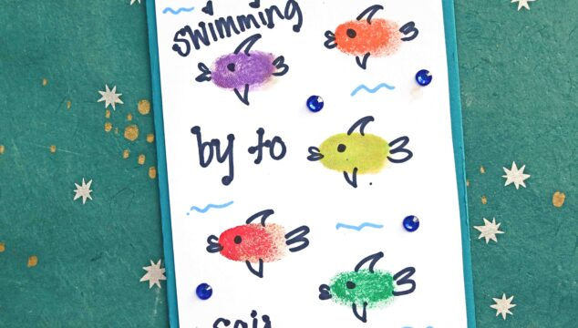 DIY Thumbprint Fish Cards - Swimming By To Say
