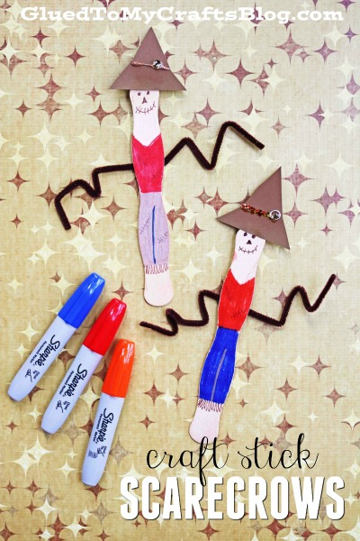 Wavy Craft Stick Scarecrows - Kid Craft