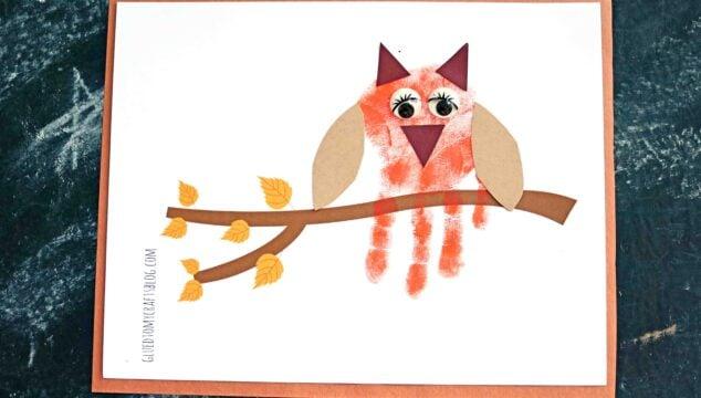 Handprint Autumn Owl On Branch - Kid Craft Idea