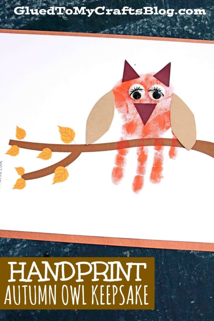 Handprint Autumn Owl On Branch - Kid Craft Idea