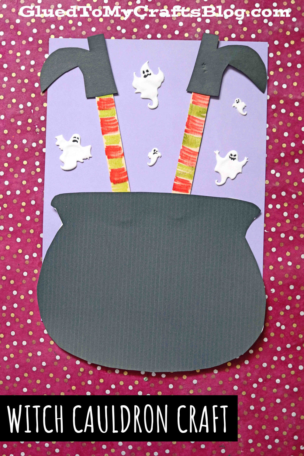Popsicle Stick Witch Legs In Paper Cauldron - Kid Craft