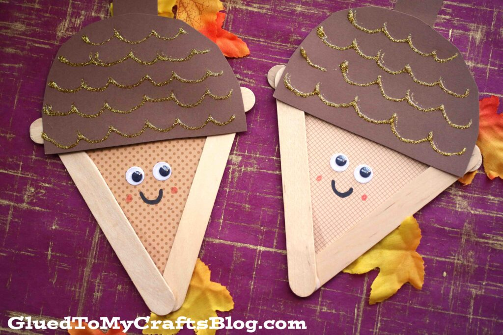 Popsicle Stick Acorns - Kid Craft