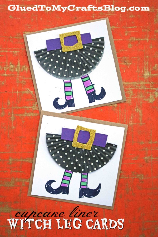 Cupcake Liner Witch Leg - Halloween Cards