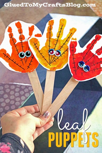 Handprint Leaves Puppets - Fall Kid Craft Idea