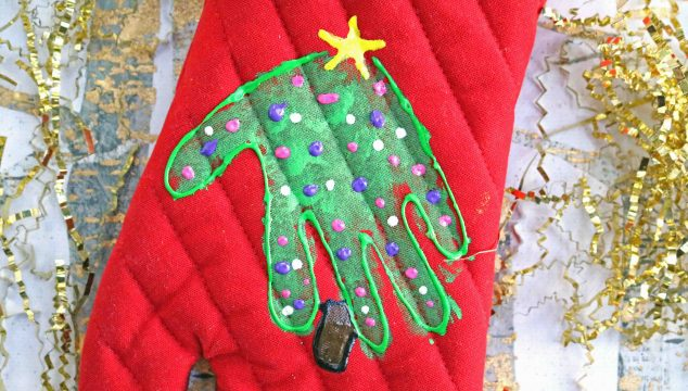 Handprint Christmas Tree Potholder Keepsake Gift Idea