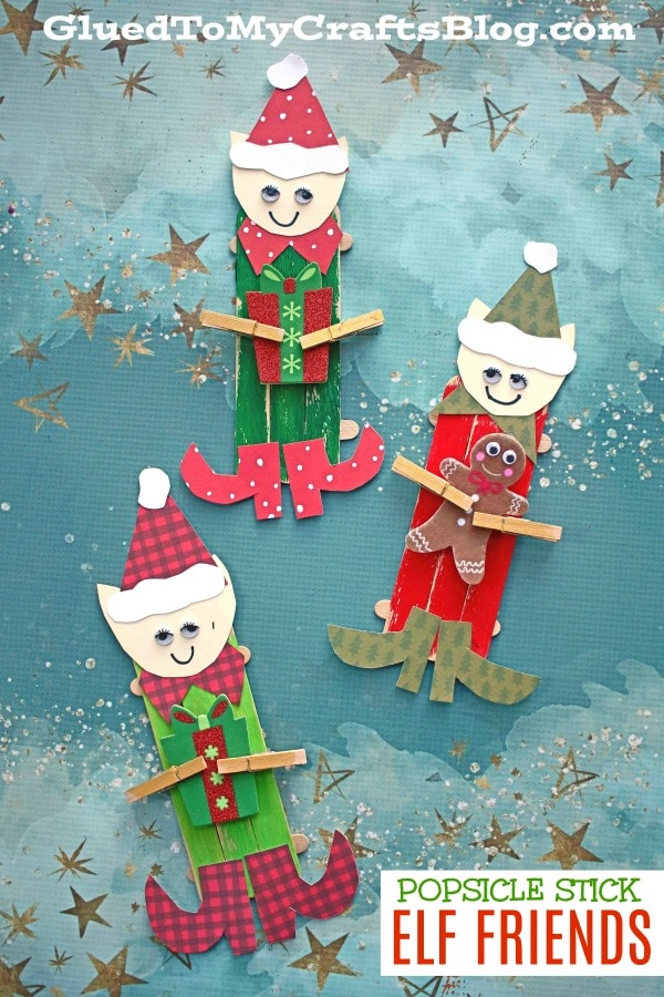 Popsicle Stick Elf Friends - Kid Craft