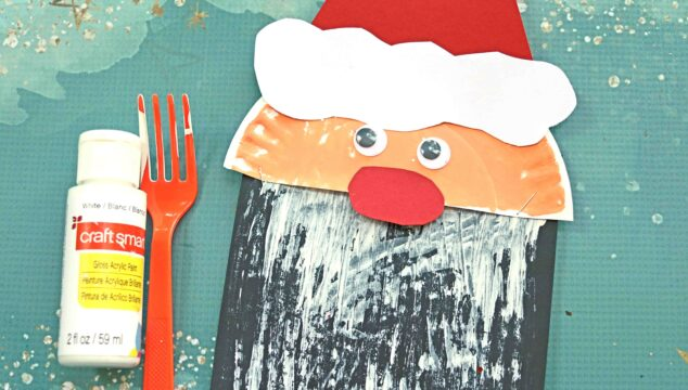 Fork Painted Santa Beard - Kid Craft Idea For Christmas
