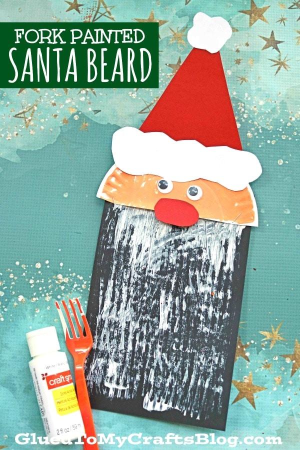 Fork Painted Santa Beard - Kid Craft Idea For Christmas