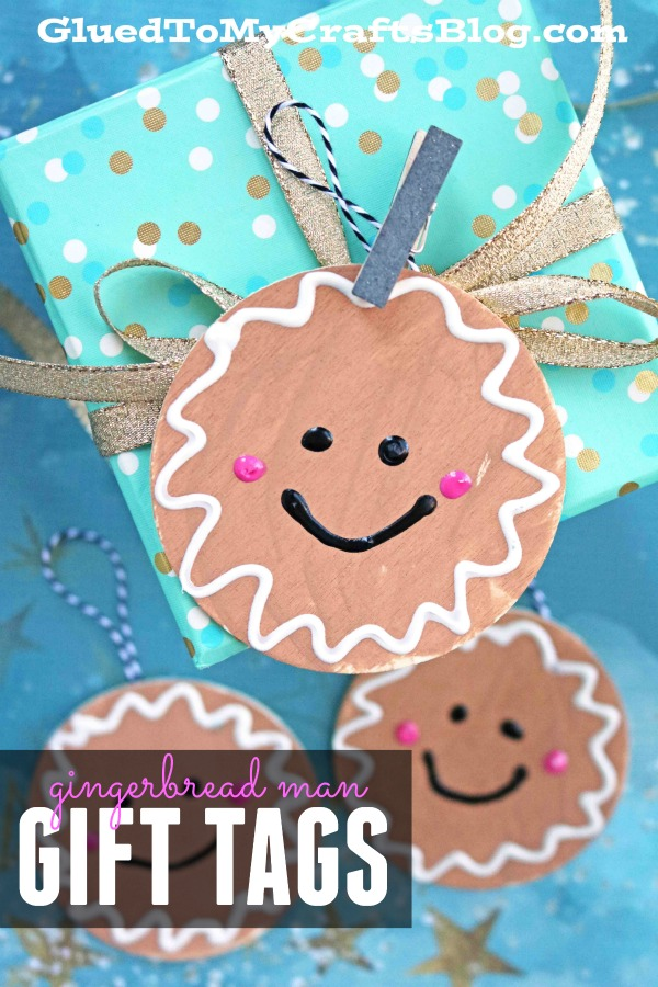 Wood Slice Gingerbread Man Gift Tag