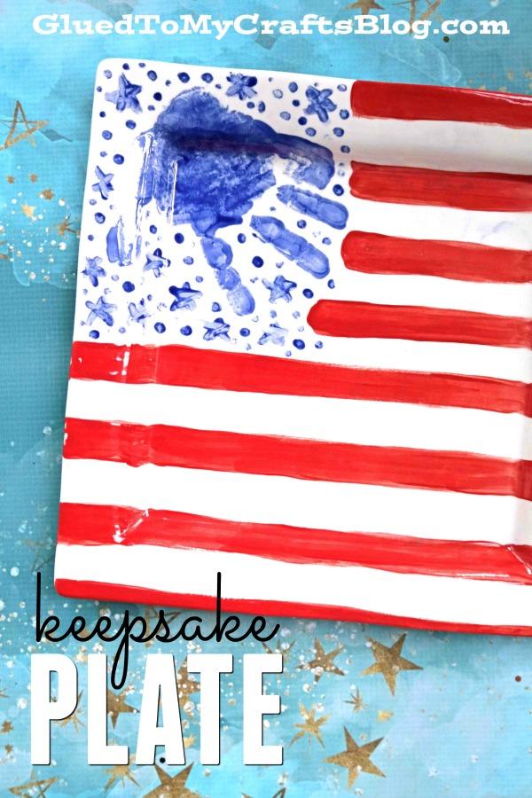 Patriotic Handprint Flag Plate - Keepsake Idea