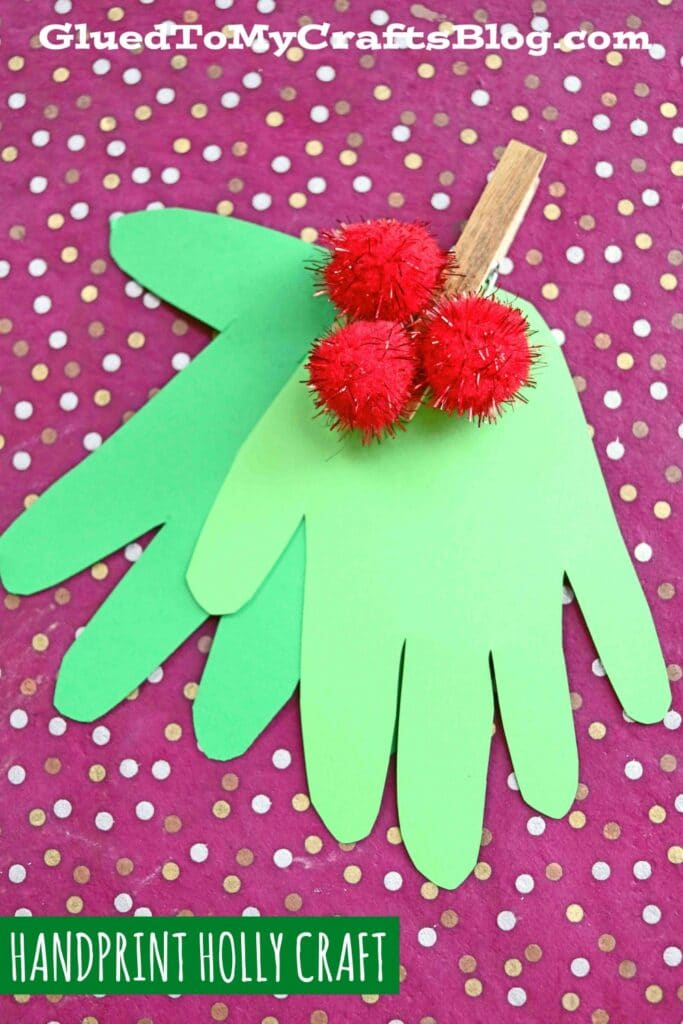 Super Easy Handprint Christmas Holly - Kid Craft