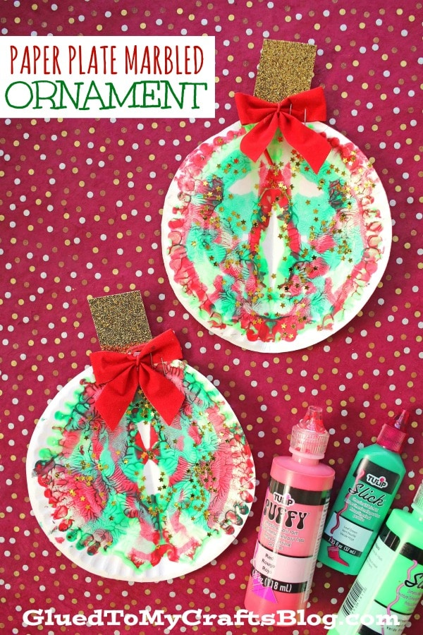 Paper Plate & Paint Splat Christmas Ornaments - Kid Craft