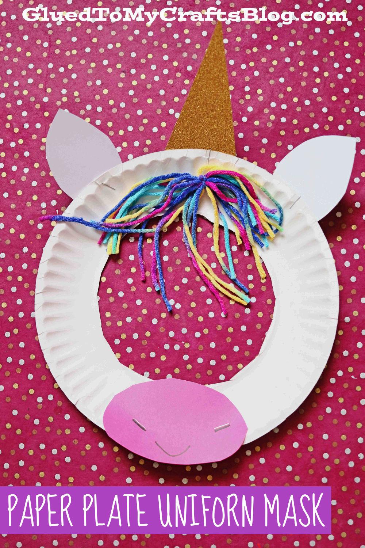 Super EASY Paper Plate Unicorn Puppet Mask - Kid Craft Idea