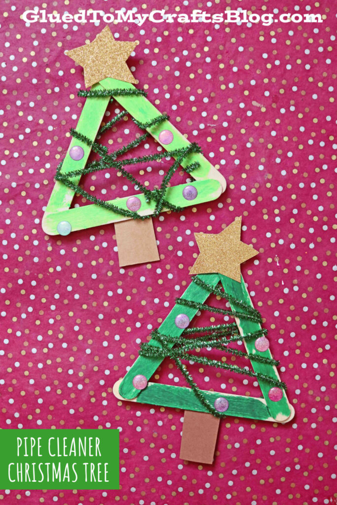 Super Easy Pipe Cleaner & Popsicle Stick Christmas Tree Craft
