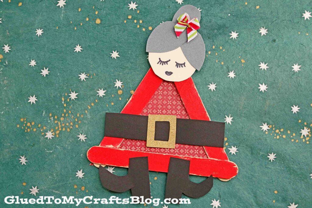 Popsicle Stick Mrs. Claus - Christmas Kid Craft Idea