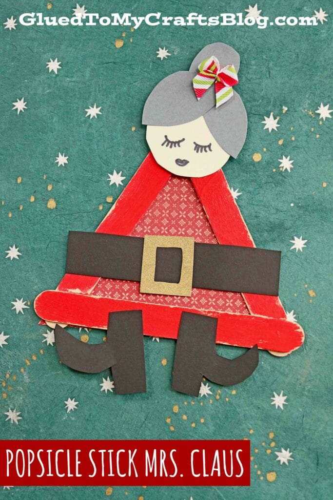 Popsicle Stick Mrs. Claus - Christmas Kid Craft Idea