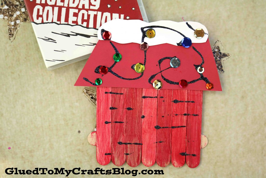 Popsicle Stick Snoopy's Dog House - Kid Craft