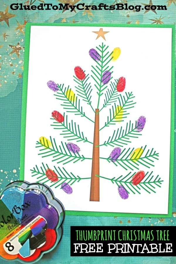 Thumbprint Christmas Tree - Kid Craft Idea w/free printable