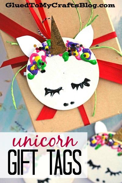 Wooden Circle Unicorn Gift Tags - Christmas Kid Craft