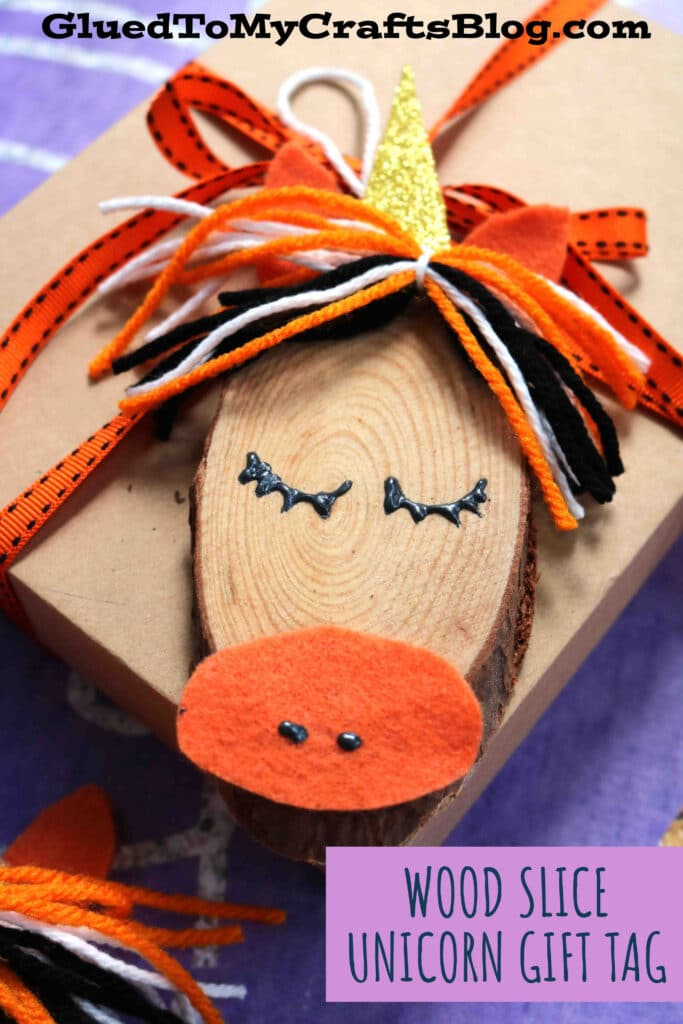 Wood Slice and Craft Yarn Unicorn Gift Tag Idea
