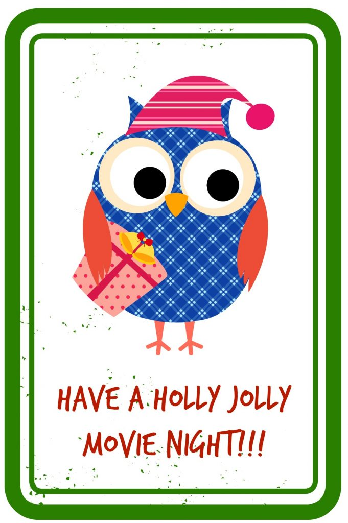 Have A Holly Jolly Movie Night - Gift Tag Printable