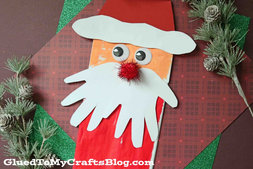 Paper Bag Santa Puppet w/Handprint Beard - Kid Craft