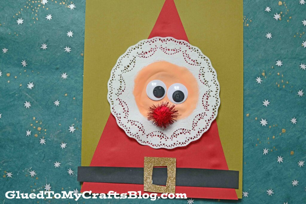 Easy As One, Two, Three - Paper Doily Santa Craft Idea For Christmas