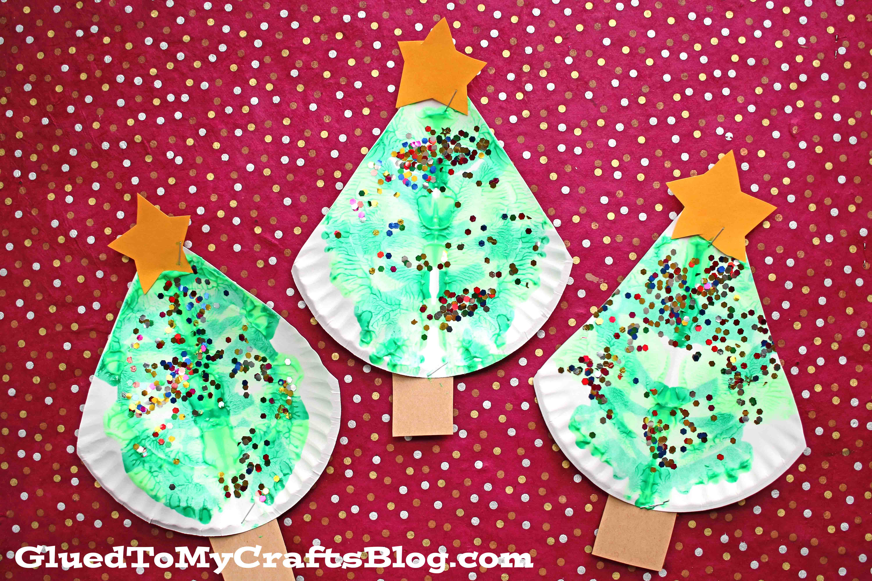 Paper Plate & Paint Splat Christmas Tree - Kid Craft