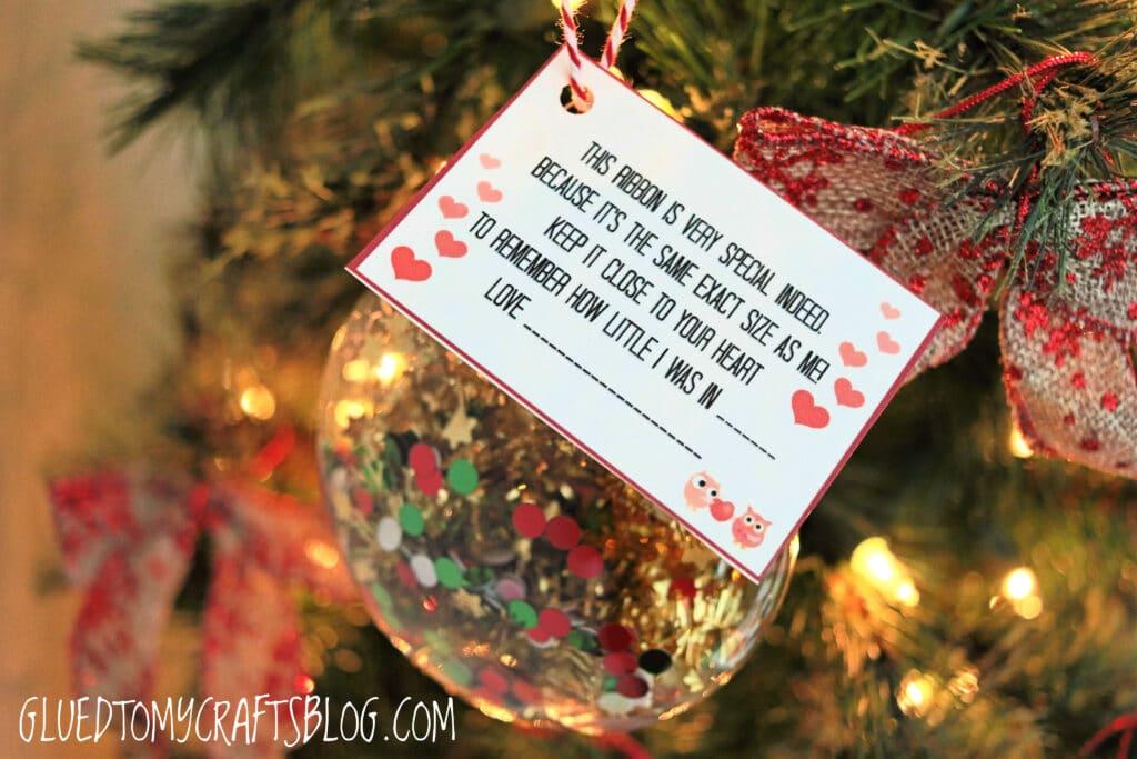 Ribbon Height Keepsake Ornament - Free Printable