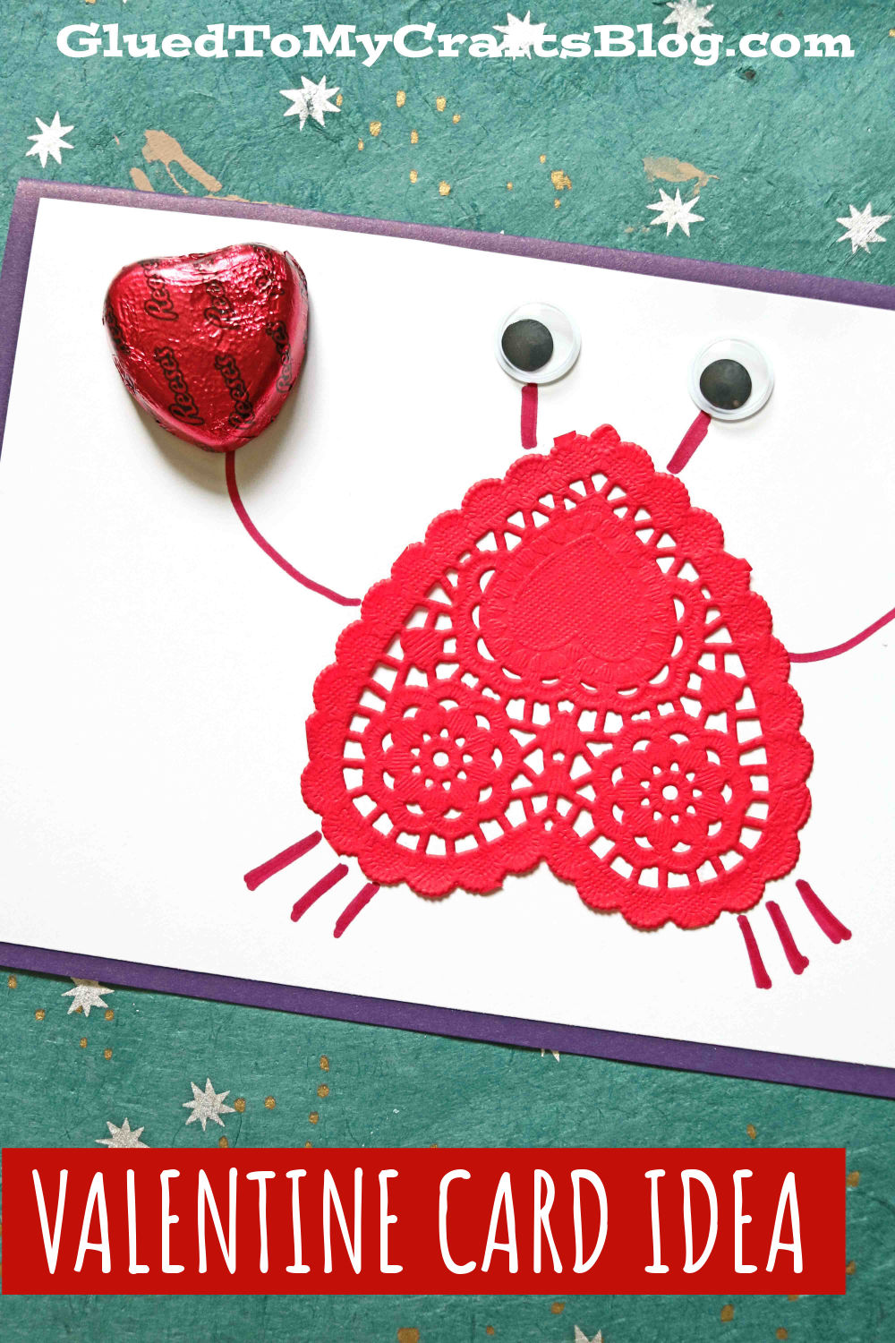 Heart Doily Crab Valentine Card Idea For Kids To Recreate