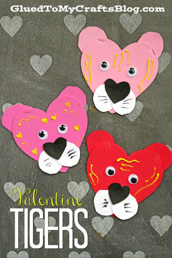 Craft Foam Heart Valentine Tigers - Kid Craft Idea