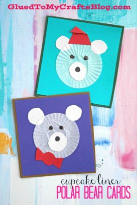 Winter Fun - Cupcake Liner Polar Bear Cards