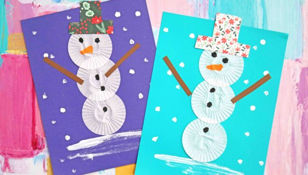 Cupcake Liner Snowman - Winter Kid Craft
