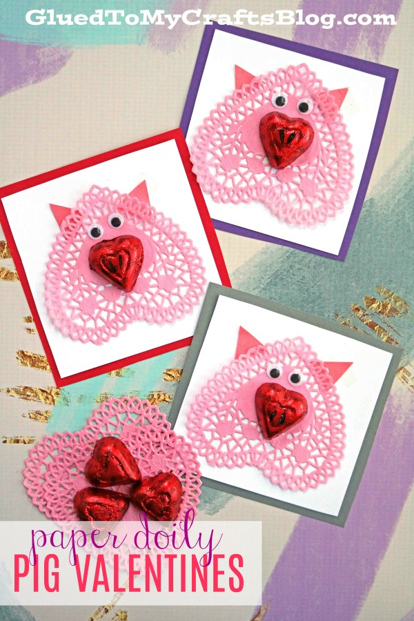 Handmade Paper Doily Pig Valentines For Kids To Recreate