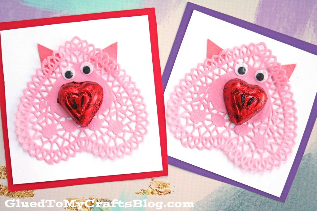 Paper Heart Doily Pig Valentines Craft Idea