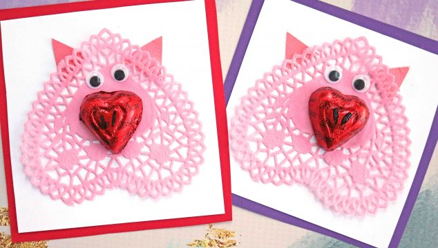 Paper Doily Pig Valentines