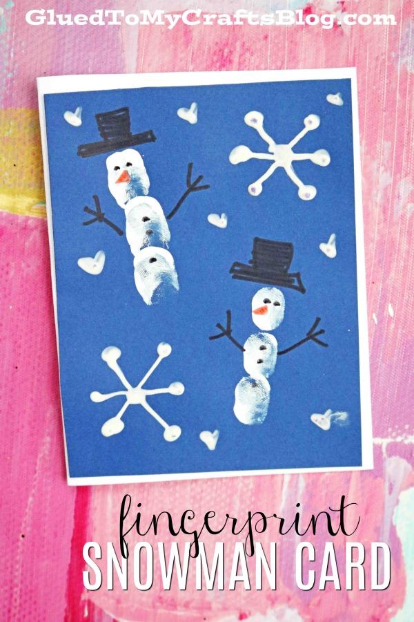 Fingerprint Snowman Cards - Kid Craft