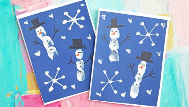 Fingerprint Snowman Cards - Kid Craft