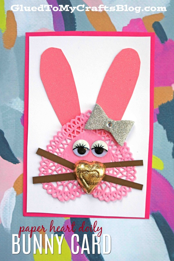 Creative Paper Heart Doily Bunny Card For Valentine's Day