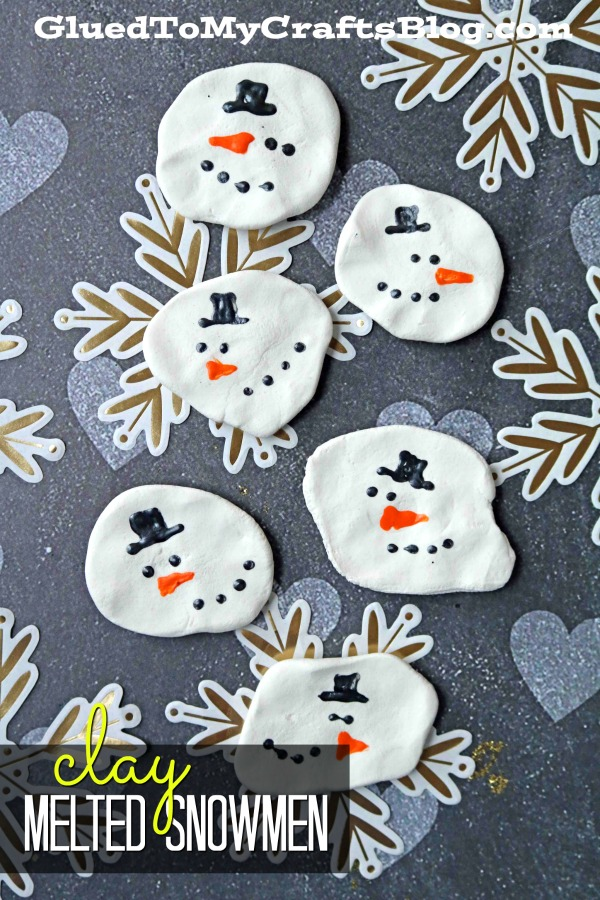Clay Melted Snowmen Magnets - Kid Craft
