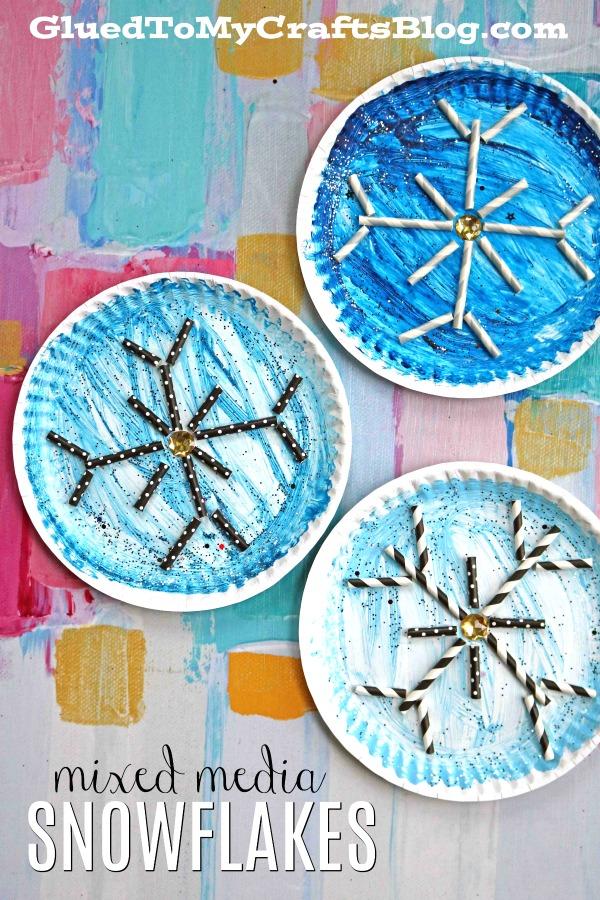 Mixed Media Paper Plate Snowflake - Kid Craft