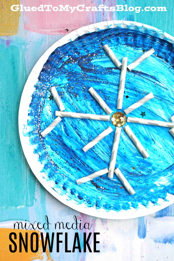 Mixed Media Paper Plate Snowflake - Kid Craft